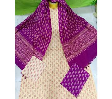 Unstitched Screen Printed Cotton Salwar Kameez
