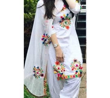 Unstitched Block Printed Cotton Salwar Kameez