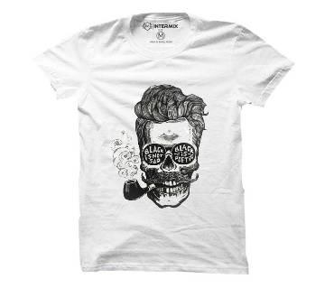 ?????? Skull smoking Cotton T-shirt