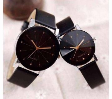 Couple Wrist Watch Black Combo Offer