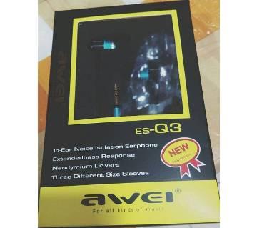 Original AWEI ES-Q3 In-Ear Noise Isolation Earphone