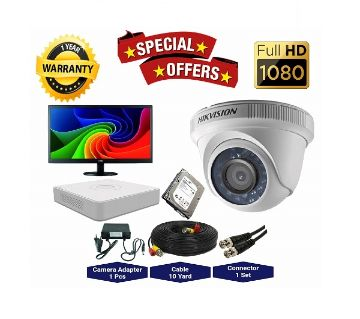 1 Pcs Hikvision Camera 2MP, DVR, 1TB HDD, 19 LED Monitor Full CCTV Camera Package