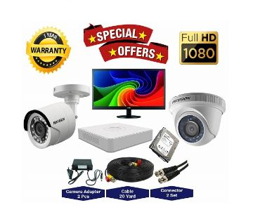 2 Pcs Hikvision Camera 2MP, DVR, 1TB HDD, 19 LED Monitor Full CCTV Camera Package
