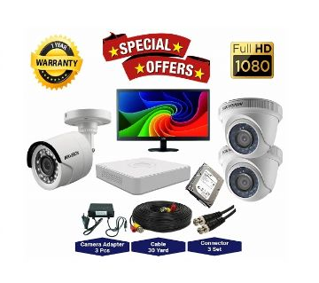 3 Pcs Hikvision Camera 2MP, DVR, 1TB HDD, 19 LED Monitor Full CCTV Camera Package