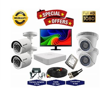 4 Pcs Hikvision Camera 2MP, DVR, 1TB HDD, 19 LED Monitor Full CCTV Camera Package