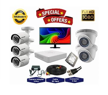5 Pcs Hikvision Camera 2MP, DVR, 1TB HDD, 19 LED Monitor Full CCTV Camera Package