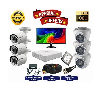 6 Pcs Hikvision Camera 2MP, DVR, 1TB HDD, 19 LED Monitor Full CCTV Camera Package