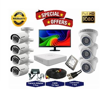 7 Pcs Hikvision Camera 2MP, DVR, 1TB HDD, 19 LED Monitor Full CCTV Camera Package