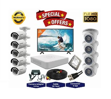 9 Pcs Hikvision Camera 2MP, DVR, 2TB HDD, 32 LED Monitor Full CCTV Camera Package