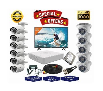 11 Pcs Hikvision Camera 2MP, DVR, 2TB HDD, 32 LED Monitor Full CCTV Camera Package