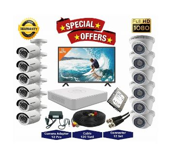 12 Pcs Hikvision Camera 2MP, DVR, 2TB HDD, 32 LED Monitor Full CCTV Camera Package