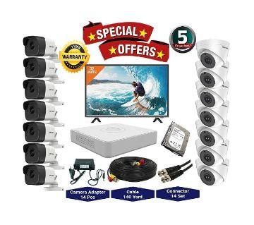 14nos Hikvision 5 Megapixels Resolution HD CCTV Camera, DVR, 2TB HDD, 19 LED Monitor Full Package.
