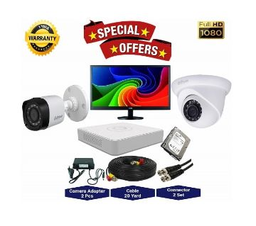 2nos Dahua 2 Megapixels Resolution HD CCTV Camera, DVR, 1TB HDD, 19 LED Monitor Full Package