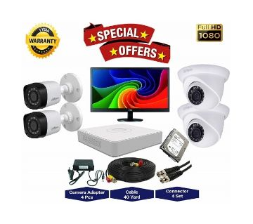 4nos Dahua 2 Megapixels Resolution HD CCTV Camera, DVR, 1TB HDD, 19 LED Monitor Full Package