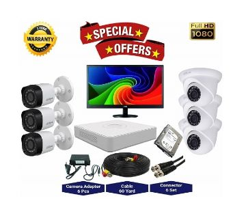 6nos Dahua 2 Megapixels Resolution HD CCTV Camera, DVR, 1TB HDD, 19 LED Monitor Full Package