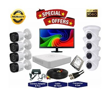 8nos Dahua 2 Megapixels Resolution HD CCTV Camera, DVR, 1TB HDD, 19 LED Monitor Full Package