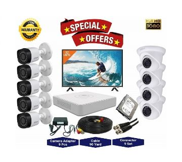 9nos Dahua 2 Megapixels Resolution HD CCTV Camera, DVR, 2TB HDD, 32 LED Monitor Full Package