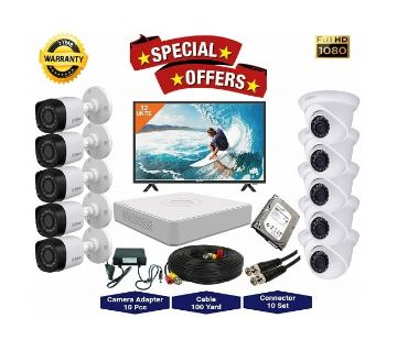 10nos Dahua 2 Megapixels Resolution HD CCTV Camera, DVR, 2TB HDD, 32 LED Monitor Full Package