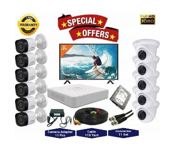 11nos Dahua 2 Megapixels Resolution HD CCTV Camera, DVR, 2TB HDD, 32 LED Monitor Full Package