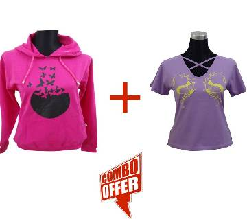 Fuchsia Ladies Hoodie + C. Petal V-Neck Ladies T-Shirt Combo Offer