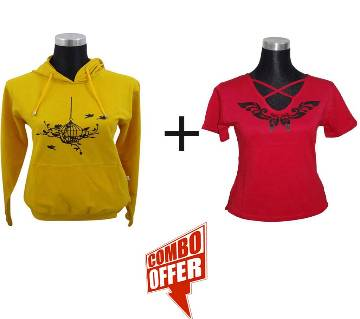 Mango Mojito Ladies Hoodie + J. Red V-Neck Ladies T-Shirt Combo Offer