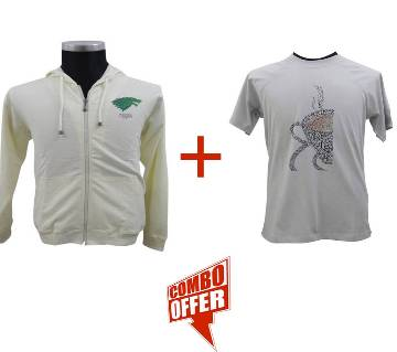 Sweet Corn Hoodie +  Quite Grey Raglan T-Shirt Combo Offer