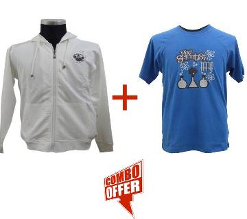 Snow White Hoodie + Sapphire Raglan T-Shirt Combo Offer