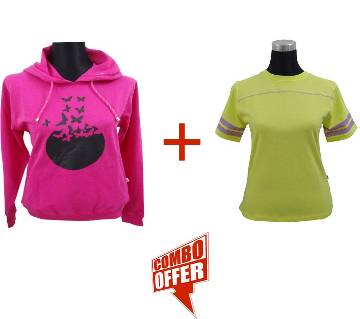 Fuchsia Ladies Hoodie + Lemon Verbena Ladies Stretched T-Shirt Combo Offer