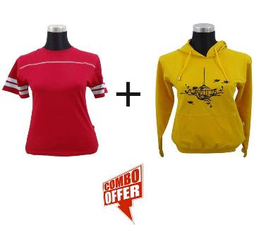 Mango Mojito Ladies Hoodie + Jester Red Ladies Stretched T-Shirt Combo Offer
