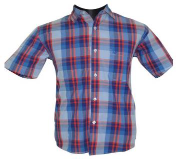 Blue Red Tartan Check Shirt