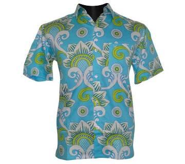 Sky Blue Print Shirt