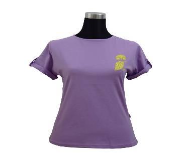 C. Petal Fold Sleeve Ladies T-Shirt