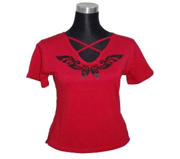J. Red V-Neck Ladies T-Shirt