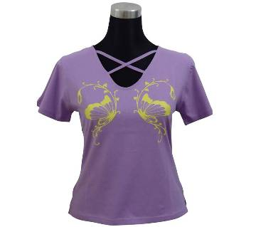 C. Petal V-Neck Ladies T-Shirt