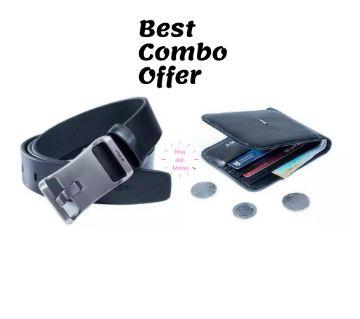 Black Artificial Leather Wallet & Belt - Combo Offer