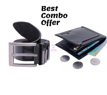 Artificial Leather Wallet (Black) & Belt-Combo Offer