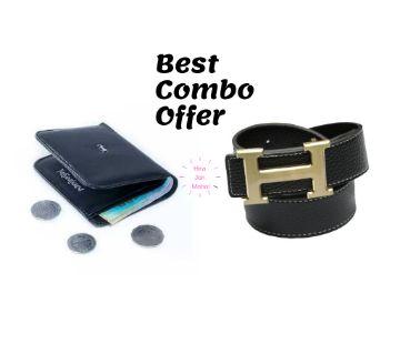 Mans Wallet & Hermes Black Leather Belt for Men - Combo Offer