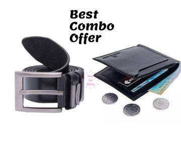 Artificial Leather Wallet (Black) & Belt-Combo Offer