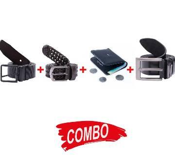 2pcs artificial leather belt black for men + Wallet Combo