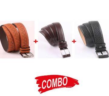 Mens Formal Belt Combo of 3pcs