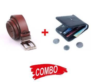 Black artificial leather wallet + Menz Artificial Leather Belt