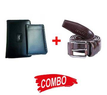 Leather Casual Belt For Men+YSL leather wallet for men Combo