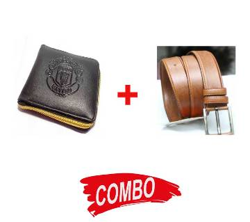 Brown Leather Belt for Men+Manchester United wallet for men Combo