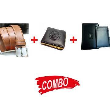 YSL leather wallet for men+Manchester United wallet for men+Brown Leather Belt for Men Combo
