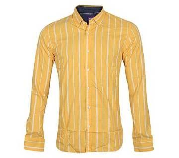 Yellow Cotton long sleeve Slim Fit Shirts