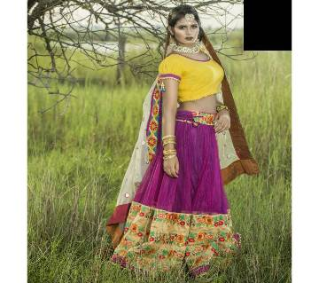 Unstitched Gorgeous Purple Lehenga