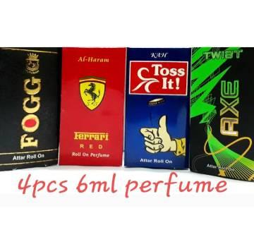 4 পিসের কনসেনট্রেটেড পারফিউম (আঁতর) কম্বো (Fogg, Axe twist, Ferrari red, Toss it)