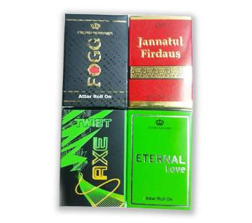4 Pcs Concentrated Perfume (Attor) Combo - Jannatul Ferdous, Eternal love, Fogg, Axe