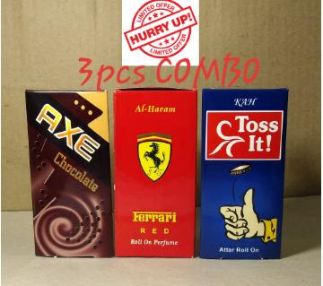 3 pcs Roll On Concentrated Perfume (Attor)Combo 6ml each (Axe, Ferrari & Toss it)