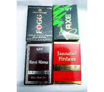 4 pieces Concentrated Perfume (Attor) combo (Royal Mirage, Jannatual Firdaous, Axe twist, Fogg)